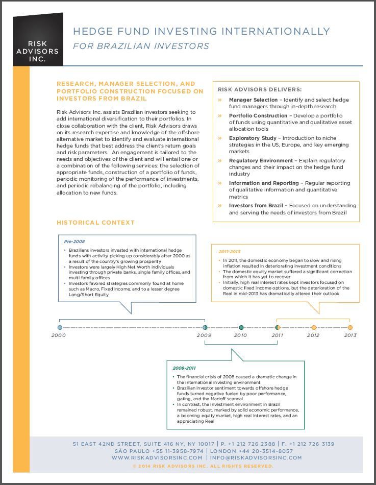 Hedge Fund Investing Internationally for Brazilian Investors
